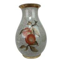 Vintage Royal Copenhagen Chinese Crackled Fruit Hand Painted Porcelain Vase