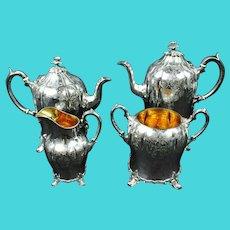 Antique James Dixon Victorian Vermeil Silver Plate Footed 4-piece Tea/Coffee Service