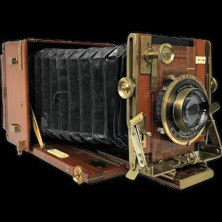 Antique F. H.  Sanderson UK Hand Stand Regular Tropical Box Mahogany Folding Camera