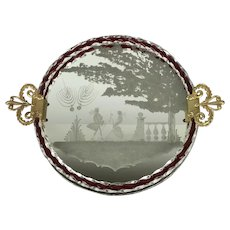 Large Vintage 1950s MURANO Venetian Round Mirror Etched Glass Scenic Ormolu Tray