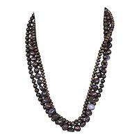"""Vintage 19"""" 3-Strand Freshwater Chocolate Pearl 14K Gold Princess Necklace"""