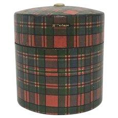 Antique Victorian Tartanware Mauchline Scotland Souvenir McFarlane Plaid String Holder Box