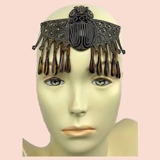 Antique Art Deco Egyptian Revival Headdress Celluloid Scarab Flapper Fashion