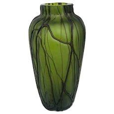 Antique LOETZ Bohemian Czech Iridescent Art Glass Green Threaded Vine Root Vase