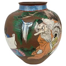Antique Japanese Meiji Redware Minamoto no Yoshitsune Sojobo Painted Scenic Vase
