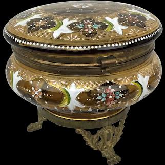 Antique Moser Czech HP Painted Enamel Glass Ormolu Vanity Dresser Powder Box Jar