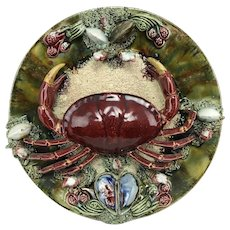 Antique 19thC Portuguese Palissy Ware Crab Majolica Earthenware Plate Plaque