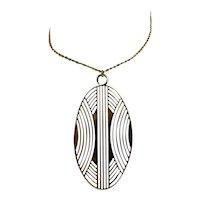 Vintage Jacques Esterel Paris French 1970s Modernist Deco Pendant Gold GP Necklace Chain