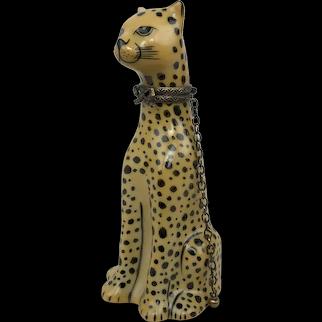 Vintage Limoges France Cheetah Cat Lion Leopard Peint Main Porcelain Trinket Box