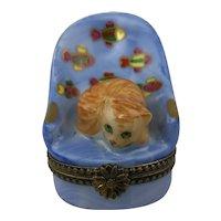 Vintage Limoges France Peint Main Cat in Fish Chair Limited Edition Porcelain Trinket Box
