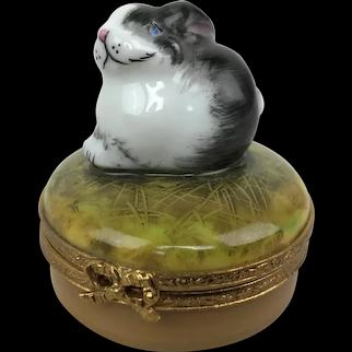 Vintage Limoges France Pierre Arquie Bunny Hare Rabbit PM Porcelain Trinket Box