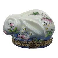 Vintage Limoges France Floral Bunny Rabbit Hare Peint Main Porcelain Trinket Box