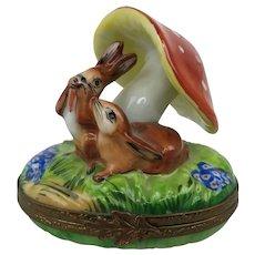 Vintage Limoges Parry Vieille France Love Bunnies Mushroom Porcelain Trinket Box