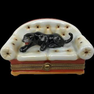 Vintage Limoges Parry Vieille France Black Panther Couch Porcelain Trinket Box