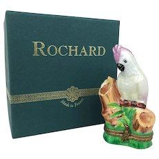 Vintage Limoges Rochard Pink Cockatoo France Peint Main Porcelain Trinket Box