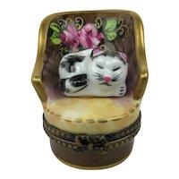 Vintage Limoges France Peint Main Cat in Victorian Chair Porcelain Trinket Box