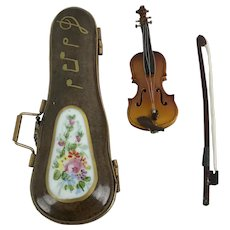 Vintage Limoges France Violin Bow Carrying Case Peint Main Porcelain Trinket Box