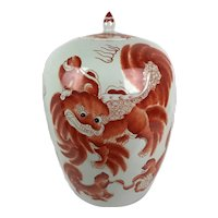 Antique Late Qing Chinese Chinoiserie Iron Red Blanc de Chine Foo Dog Dragon Ginger Jar Vase