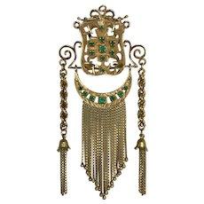 Vintage Estate Mid Century 18 Karat Emerald Ladies Bolo Tie Scarf Tassel Pendant