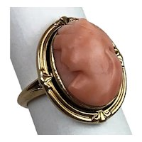 Antique Victorian 10k Yellow Gold Carved Coral Oval Cameo Cocktail Ring Size 6
