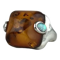 Vintage Baltic Amber Fire Opal Cabochon Sterling Silver Cocktail Ring Size 6.75