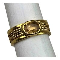 Antique Victorian Edwardian Etruscan 22K Gold Yellow Spinel Ladies Ring Size 5.75