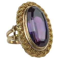 Antique Victorian Edwardian 18K Gold 10 Carat Purple Sapphire Cocktail Statement Ring