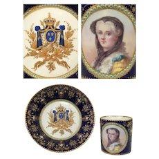 Antique 1779 French SEVRES Royal Bourbon Queen Marie Leszczyńska Jewel Porcelain Coffee Cup Saucer