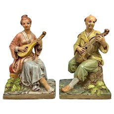 Pair Vintage French Chinoiserie Asian Plaster Musical Figures Statues