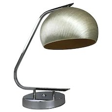 Vintage Harvey Guzzini Italy MCM Mid Century Modern Fiberglas Chrome Desk Table Lamp