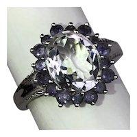 Vintage 14K Gold Oval 3ct White Topaz Iolite Faux-Diamond Cocktail Ring Size 9.25