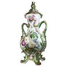 Antique Palace-size 19th Century Coalport Victorian Louis XV Potpourri Enamel Gilded Porcelain Vase