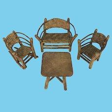 Antique Set 4 Victorian Adirondack Wood Hand-Made Miniature Doll House Furniture
