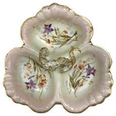 Antique W. Guerin Limoges France Porcelain Tripartite Floral Porcelain Dish Bowl