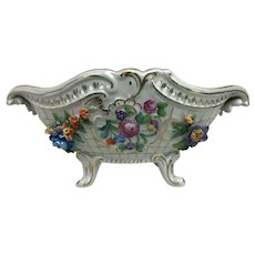 Vintage Dresden German Porcelain Rococo Ornate Floral Reticulated Compote Footed Bowl Dish