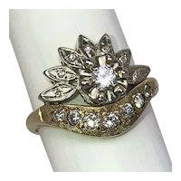 Vintage Mid Century Diamonds 14K Yellow White Gold Halo Cluster Cocktail Ring Size 8