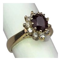 Vintage Oval Ruby Diamond 14K Gold High Halo Cocktail Ring Size 6.5