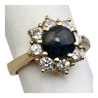 Vintage Cat's Eye Alexandrite Chrysoberyl Diamond Halo 14k Gold Ring Size 6