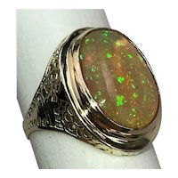 Sparkling 4.64cts White Fire Opal Cabochon 14K Gold Cocktail Ring Size 6.5