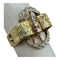 Vintage Mid Century Cowboy Western Theme 14 Karat Diamond Buckle Ring Size 7.75