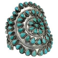 Large Signed Native American Zuni Sterling Silver Turquoise Beaded Cuff Bracelet