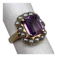 Antique Victorian Edwardian 14K Gold Amethyst Pearls Ladies Halo Ring Size 4.5