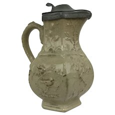 Antique English Fenton Stone Works CJ Mason Beige Ironstone Pitcher with Pewter Top