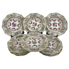 Antique Dresden Schumann Wreath Empress Chateau Gilt Porcelain Set of 12 Plates