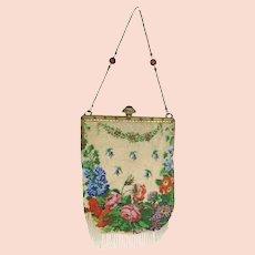 Antique Victorian Edwardian Micro Beaded Rose Evening Bag Purse Ornate Frame