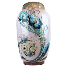 Antique Palace Limoges France L.Ernie Signed Painted Porcelain Art Nouveau Vase