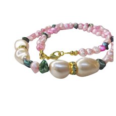 Hand Strung Abalone Shell and Freshwater Cultured Pearl Beaded Necklace
