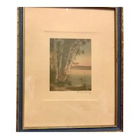 Wallace Nutting Print (Canoe under Tall Pine Tree)