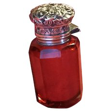 Cranberry and Sterling Perfume Bottle