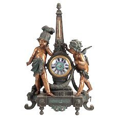 19th Century Napoleon III Spelter Figural Clock Thermometer